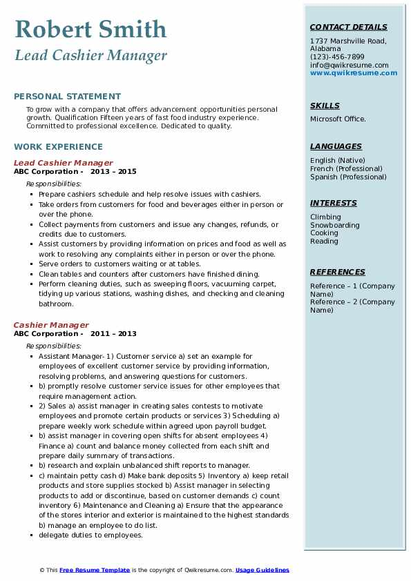 Lead Cashier Manager Resume Format