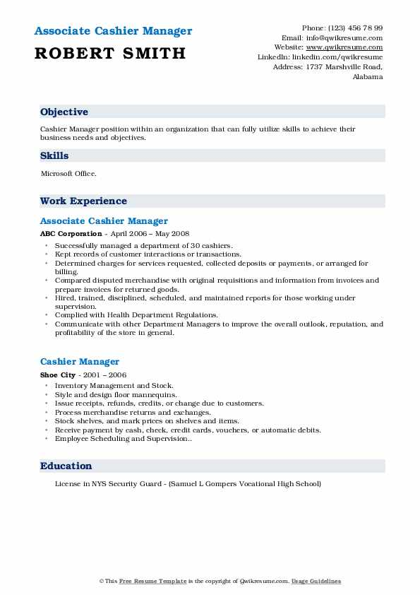 Associate Cashier Manager Resume Template
