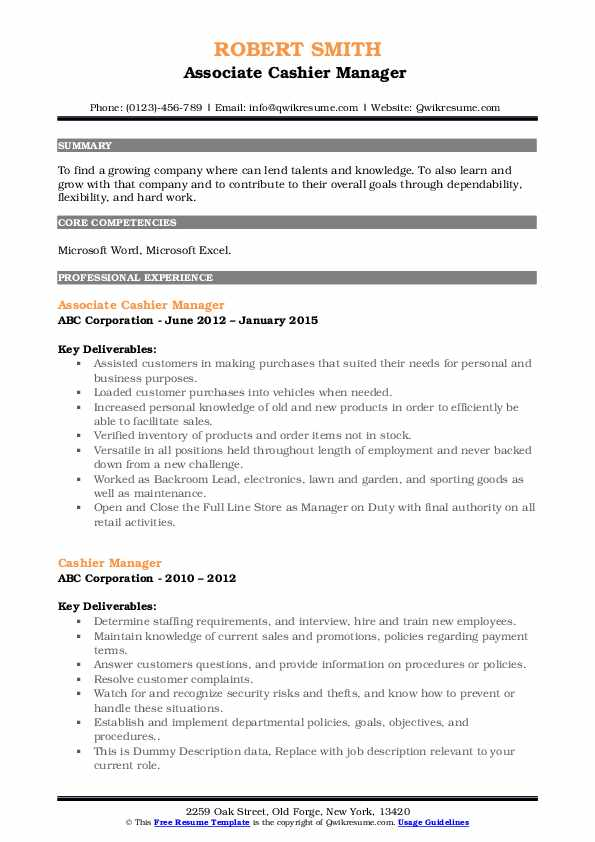 Associate Cashier Manager  Resume Format