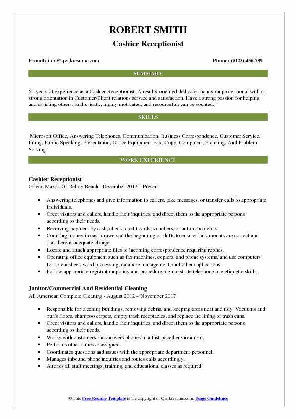 Cashier Receptionist Resume Format