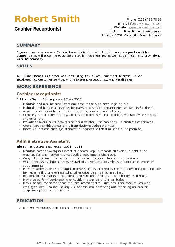 Cashier Receptionist Resume example