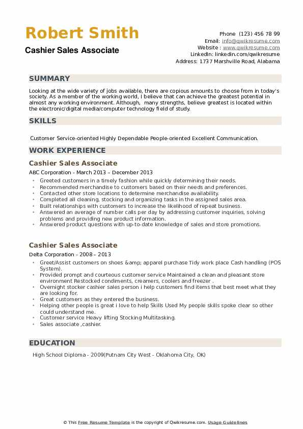 Cashier Sales Associate Resume example