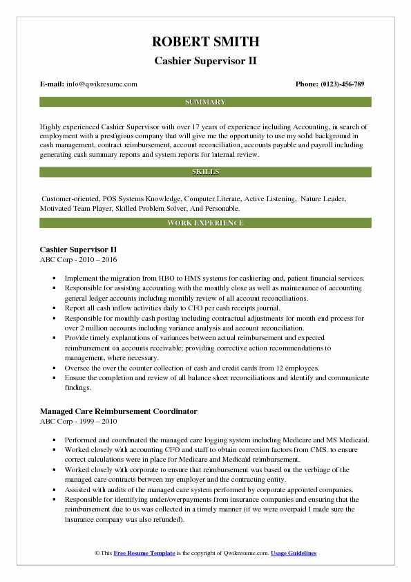 Cashier Supervisor II Resume Format