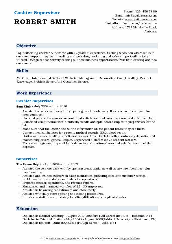 Cashier Supervisor Resume Samples Qwikresume