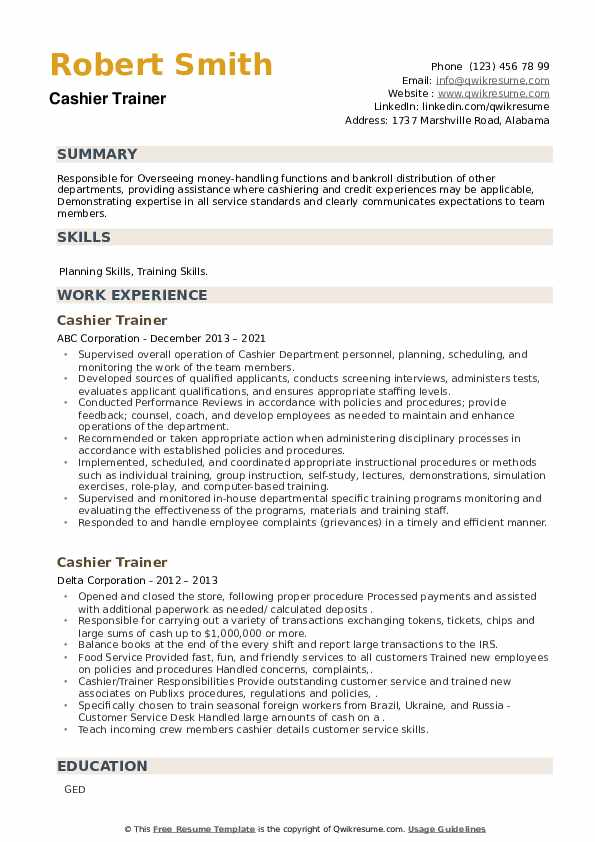 Cashier Trainer Resume example