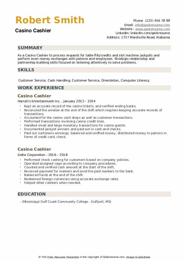 Casino Cashier Resume example