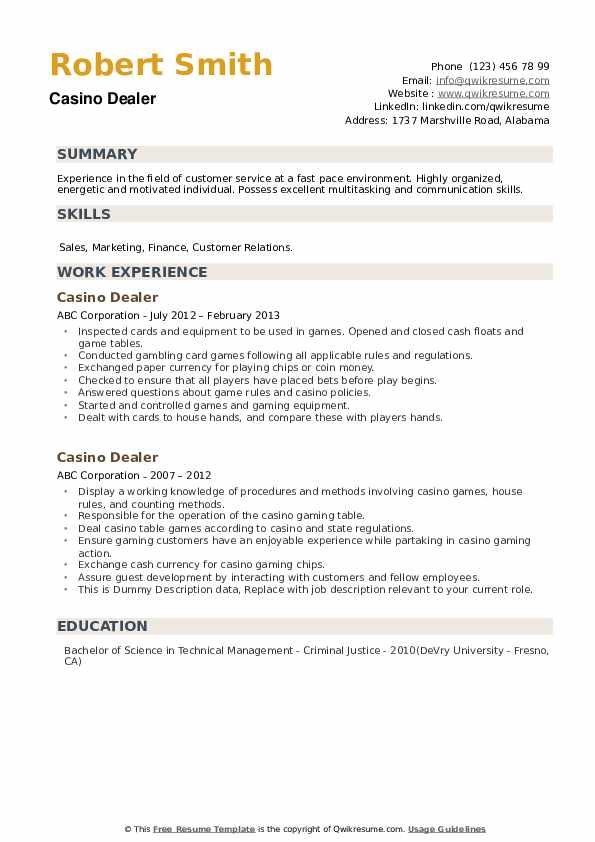 Sample Resume For Online Casino Dealer