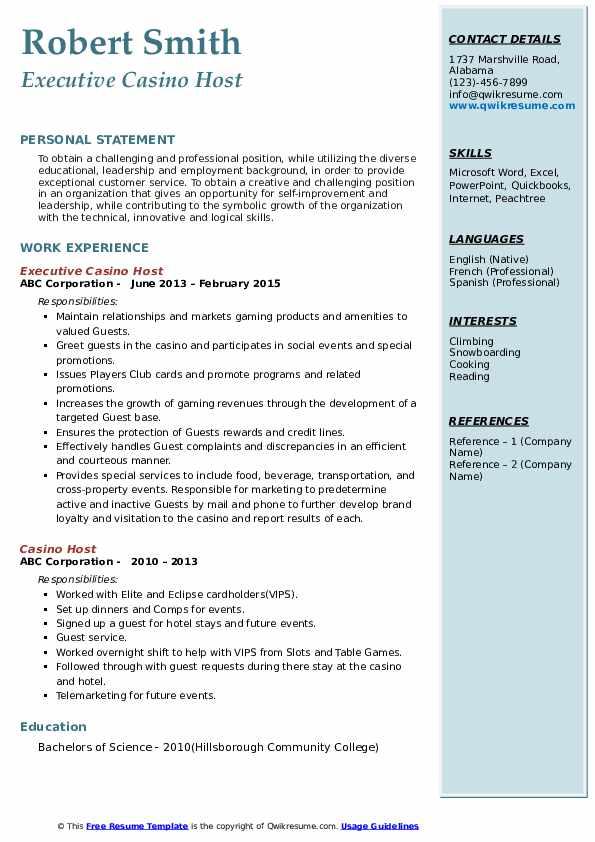 Job description for a casino host clinton casino hotel