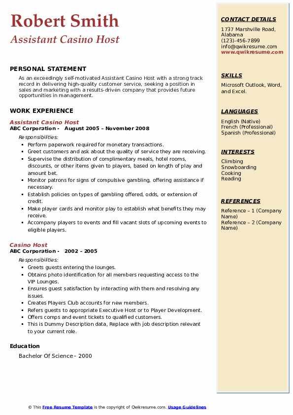 Casino assistant manager job description harrisburg casino nc