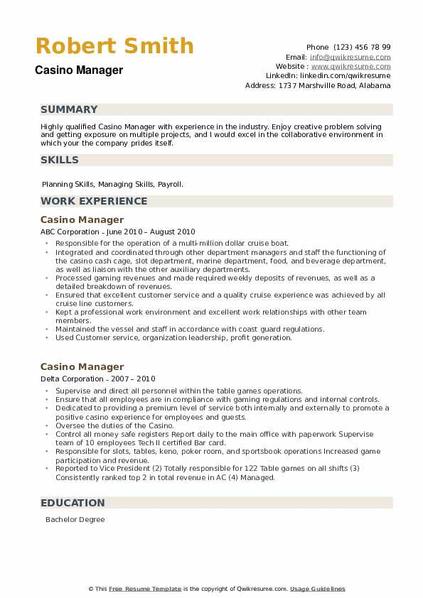 Casino Manager Resume example