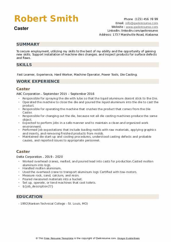 Caster Resume example