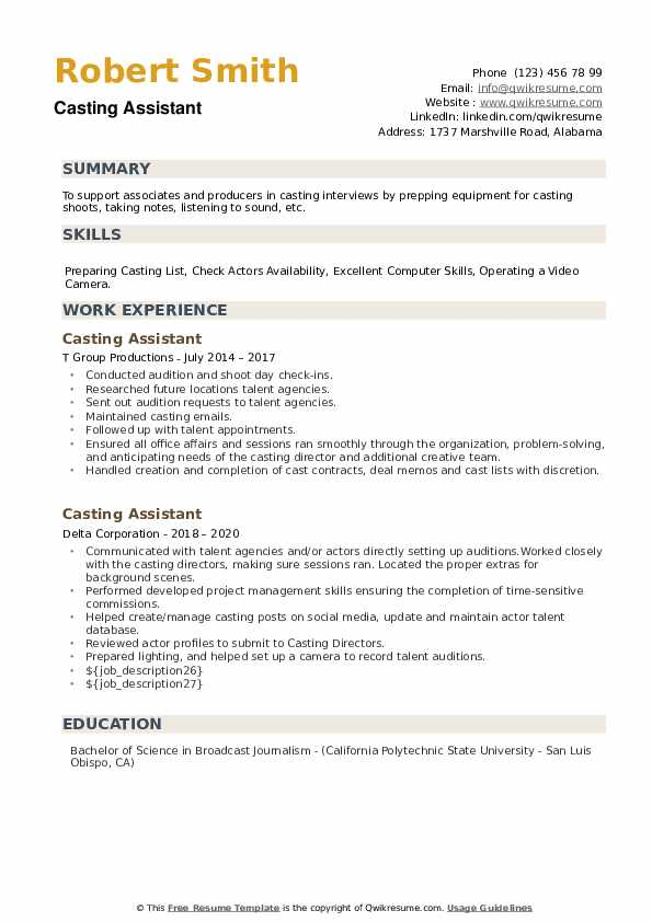 Casting Assistant Resume example