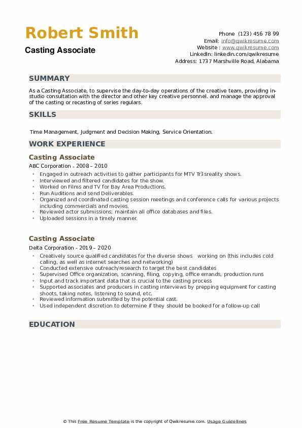 Casting Associate Resume example
