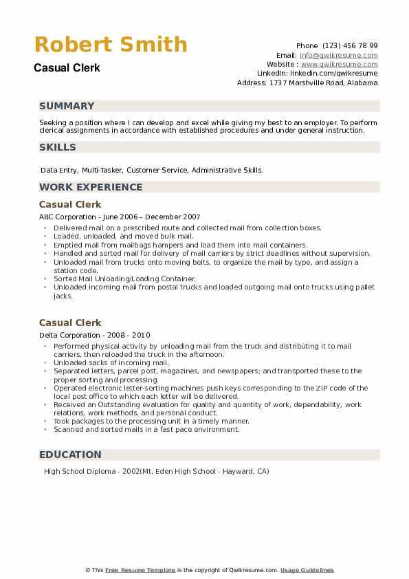 Casual Clerk Resume example