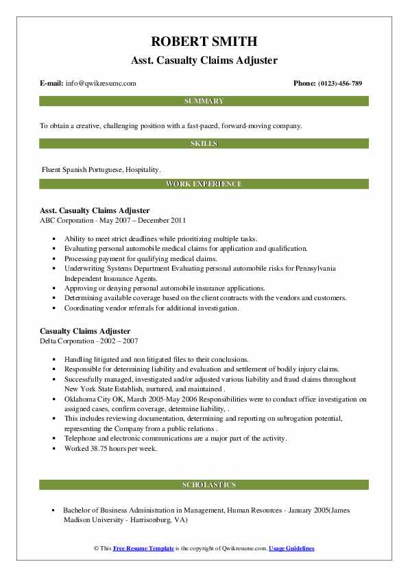 Casualty Claims Adjuster Resume Samples   QwikResume