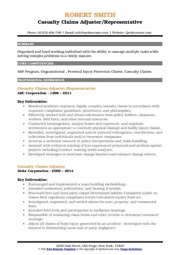 Casualty Claims Adjuster Resume Samples | QwikResume