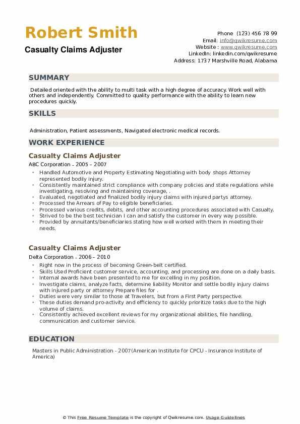 Casualty Claims Adjuster Resume example