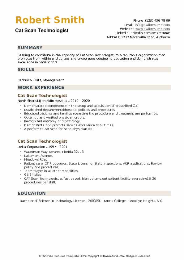 Cat Scan Technologist Resume example