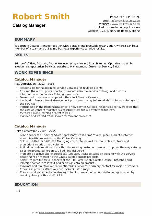 Catalog Manager Resume example