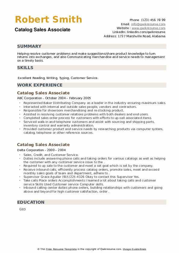 Catalog Sales Associate Resume example