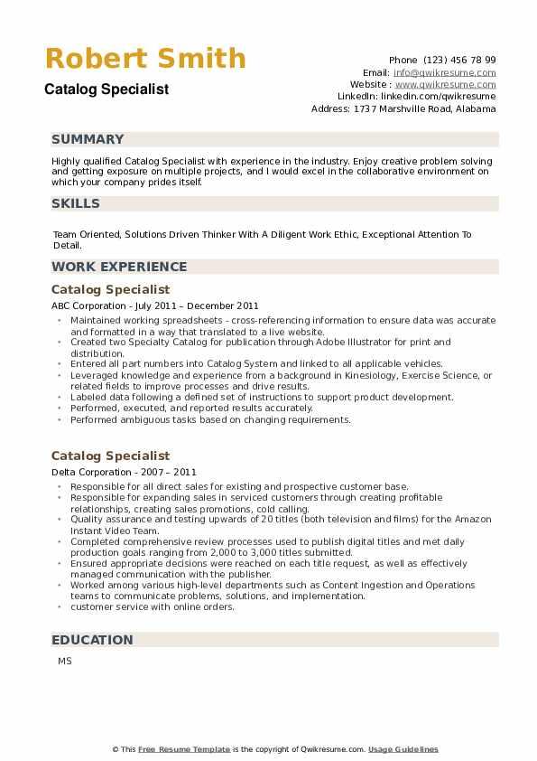 Catalog Specialist Resume example