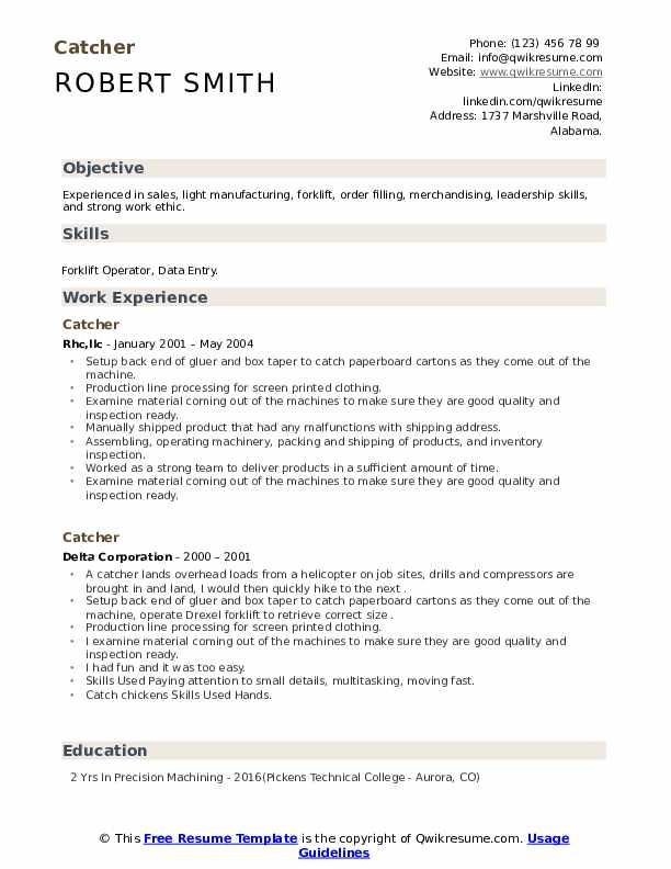 Resume catcher qa intern resume