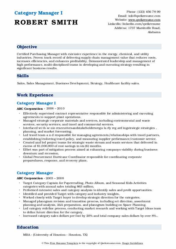 Category Manager I Resume Example