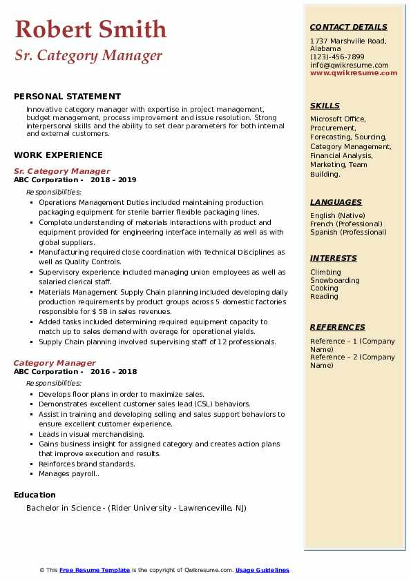 category manager resume samples