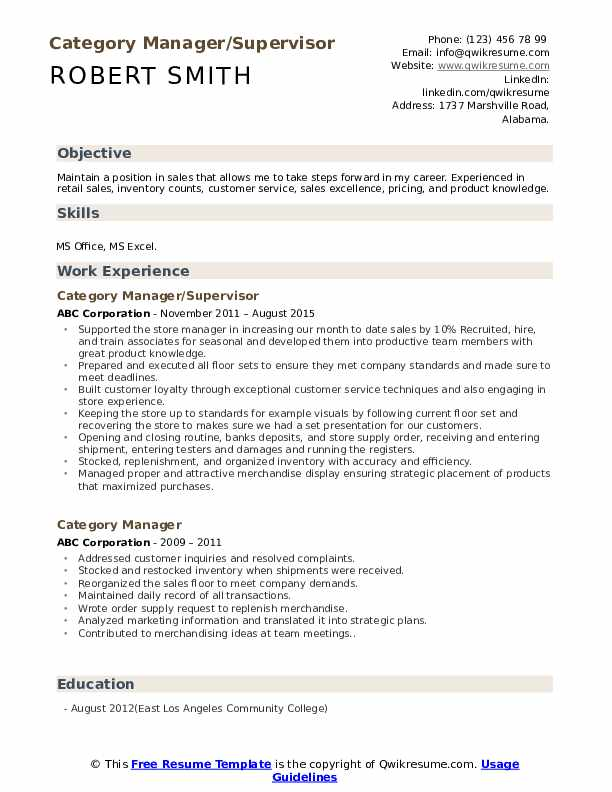 Category Manager/Supervisor Resume Example