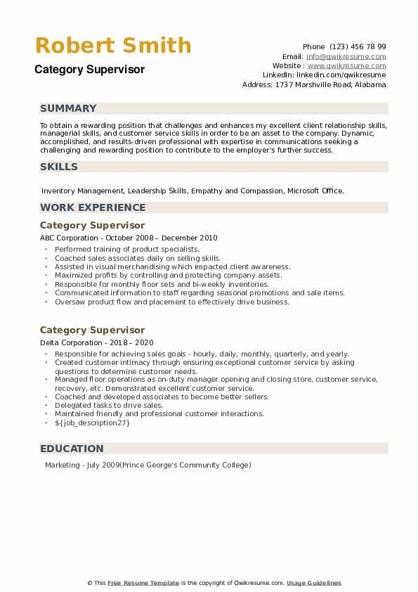 Category Supervisor Resume example