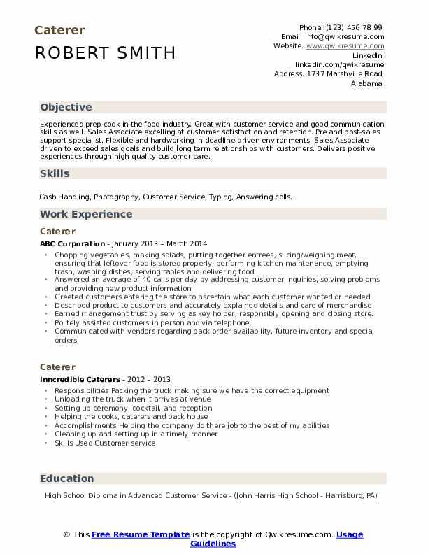 Caterer Resume Model
