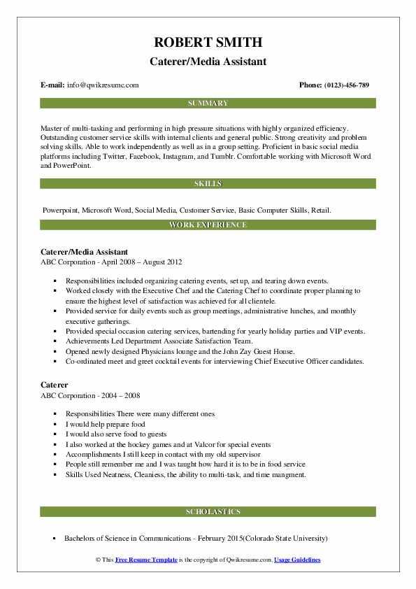 Caterer/Media Assistant Resume Format