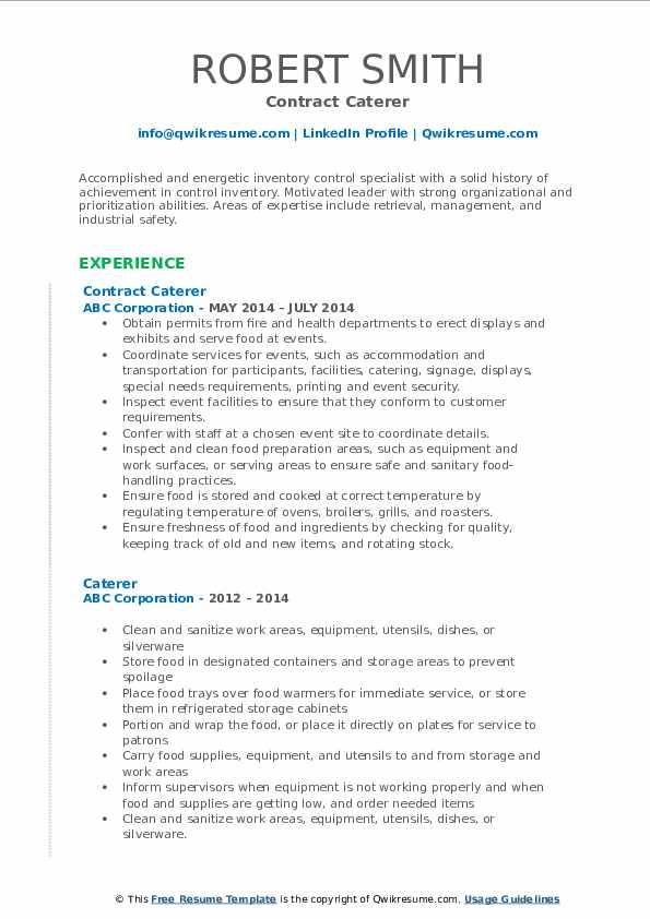 Contract Caterer Resume Format