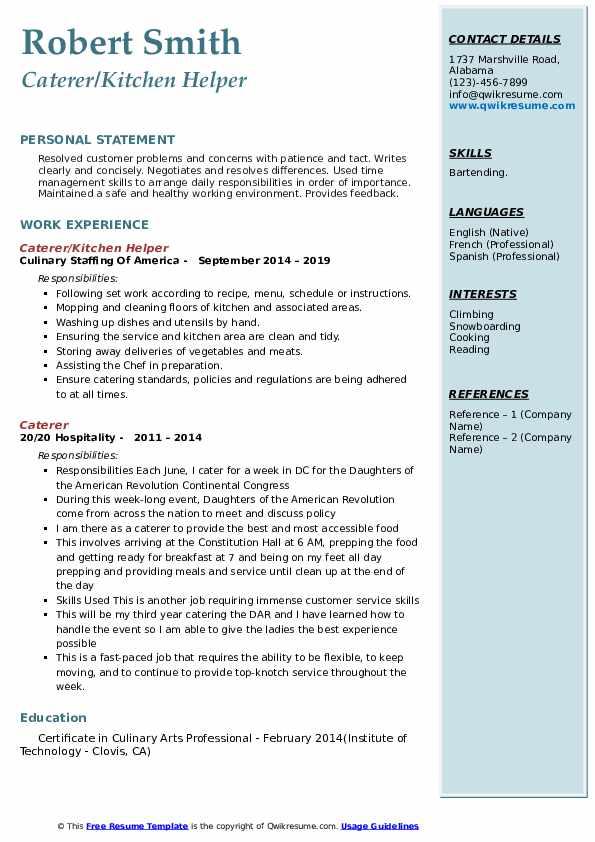 Caterer/Kitchen Helper Resume Model
