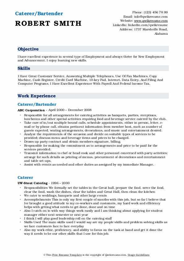 Caterer/Bartender Resume Example