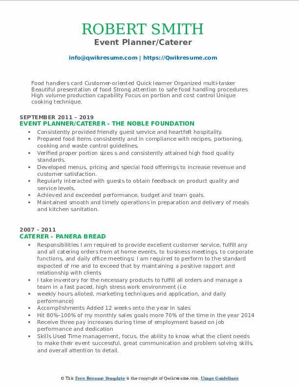 Event Planner/Caterer Resume Sample