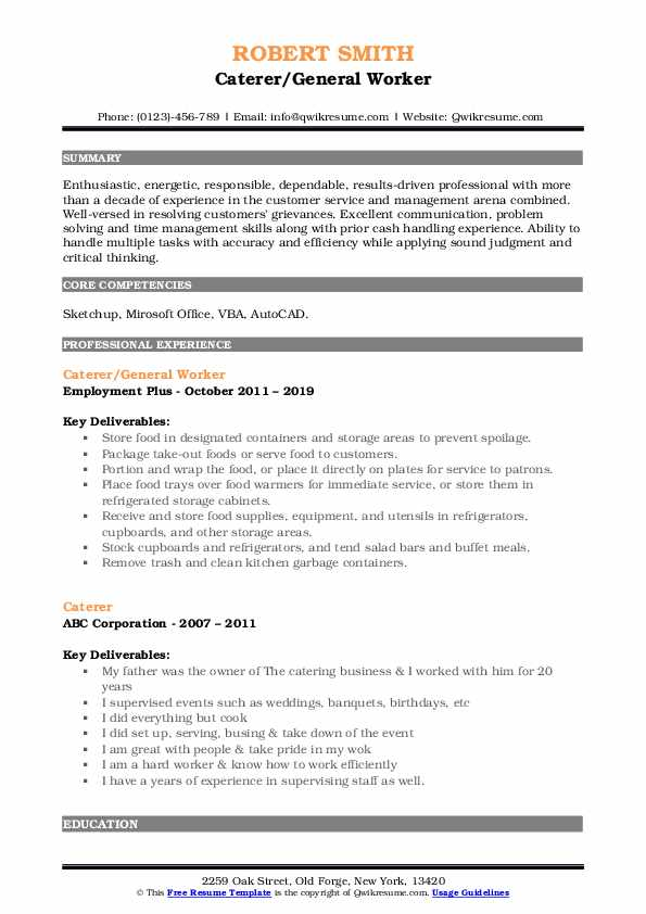 Caterer/General Worker Resume Example
