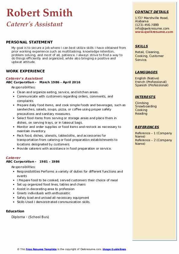 Caterer's Assistant Resume Model