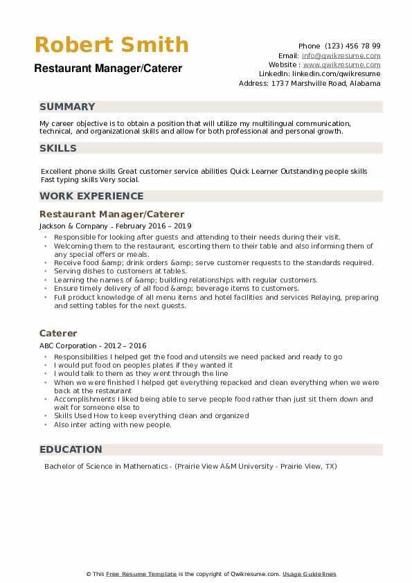 Restaurant Manager/Caterer Resume Example