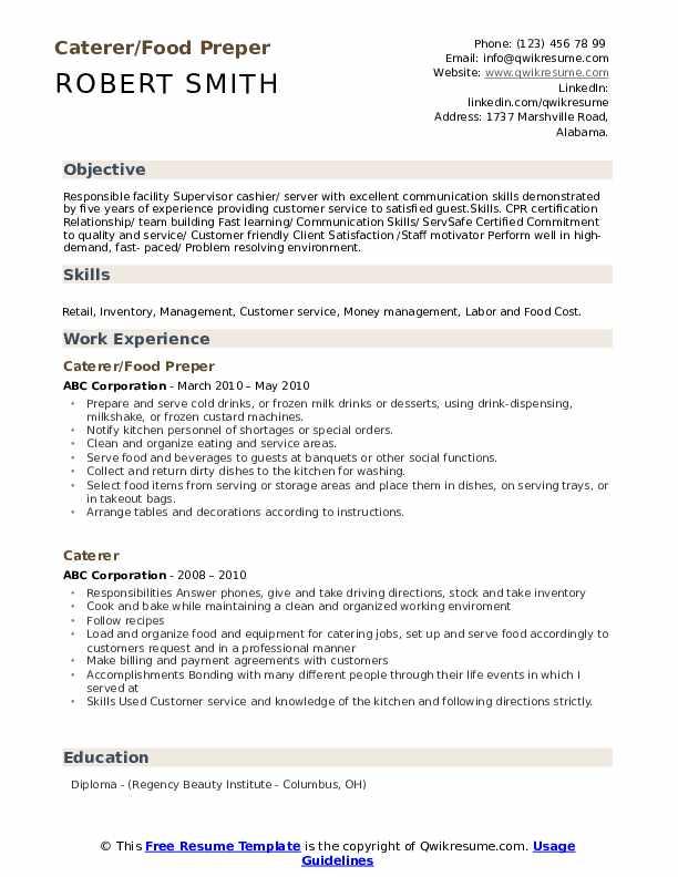 Caterer/Food Preper Resume Model