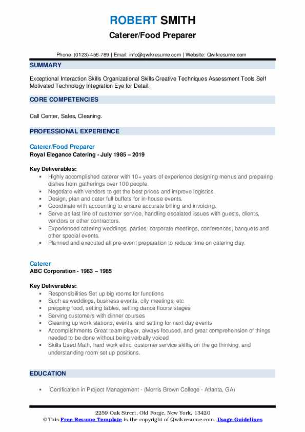Caterer/Food Preparer Resume Format