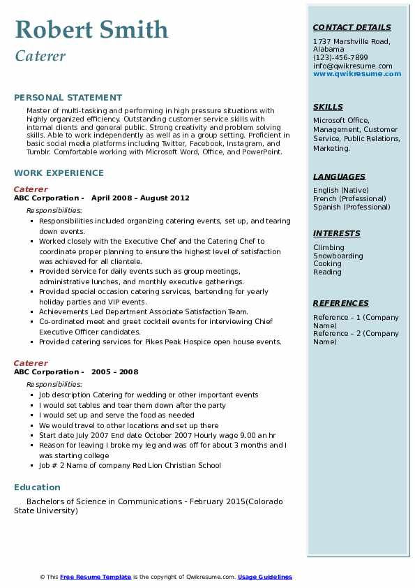 Caterer Resume Samples Qwikresume