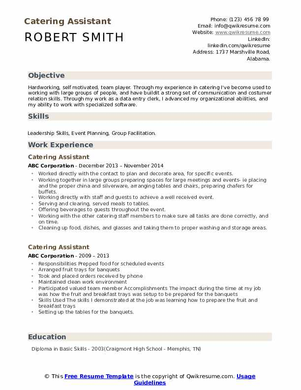 Catering Assistant Resume Samples | QwikResume