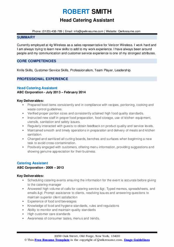 Head Catering Assistant Resume Template