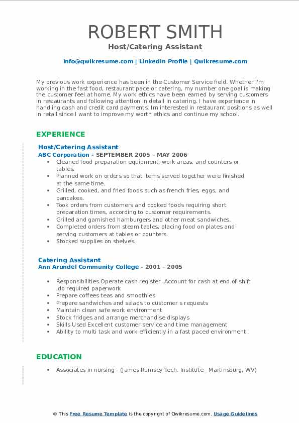 Host/Catering Assistant Resume Example