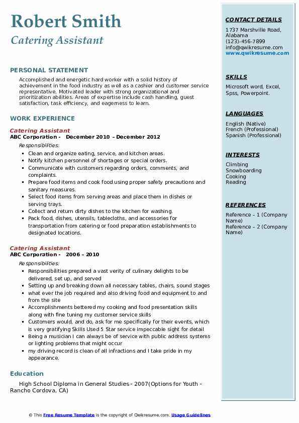 Catering Assistant Resume Model