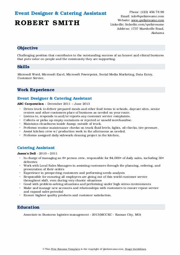 Event Designer & Catering Assistant Resume Model