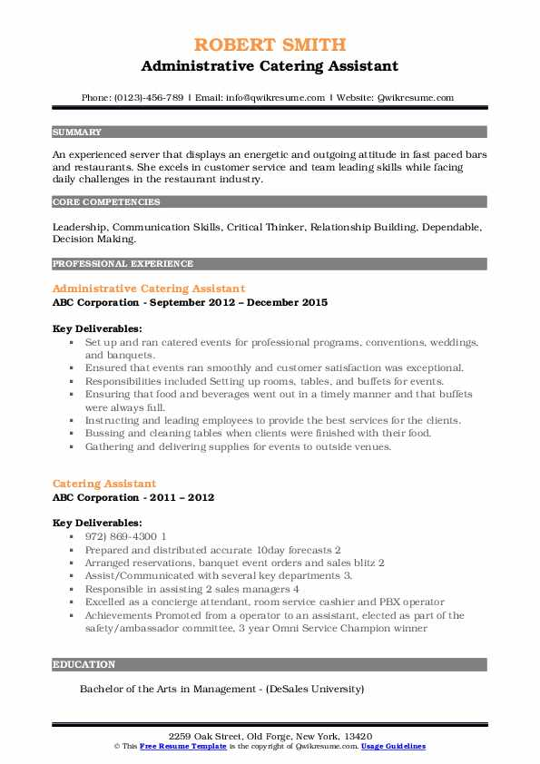 Administrative Catering Assistant Resume Format