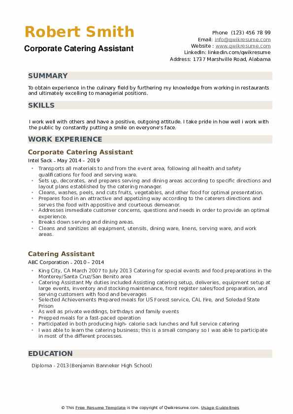 Corporate Catering Assistant Resume Sample