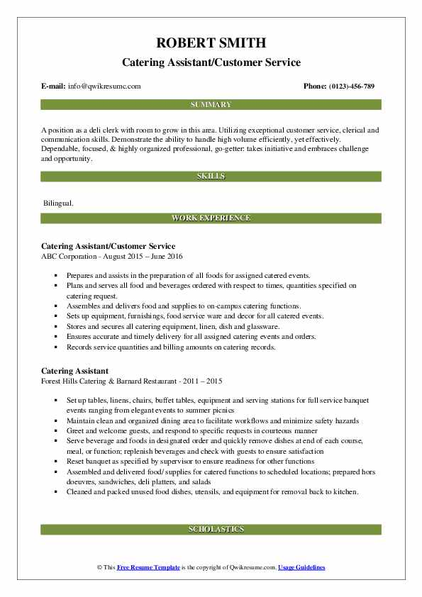 Catering Assistant/Customer Service Resume Example